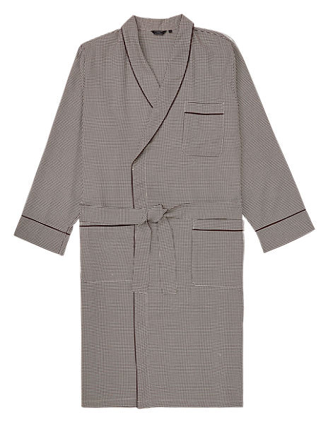 Supima® Cotton Houndstooth Dressing Gown