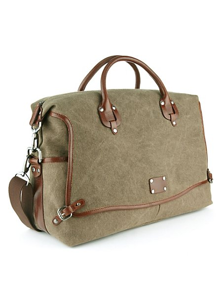 Pure Cotton Textured Holdall with Leather Trim
