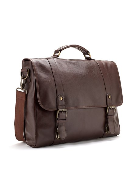 Leather Double Buckle Briefcase