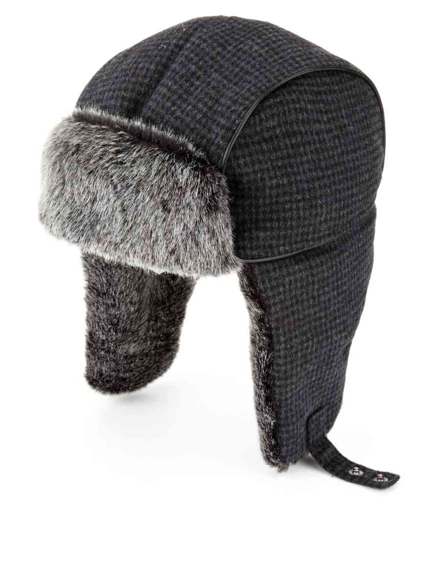 b8ab562a35d Houndstooth Checked Trapper Hat with Stormwear trade