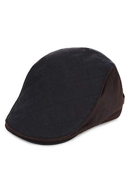 Pure Cotton Waxed Quilted Thinsulate™ Flat Cap with Stormwear™