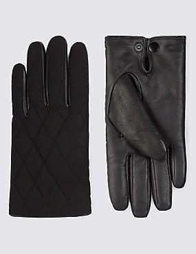 Leather Panelled Quilted Gloves