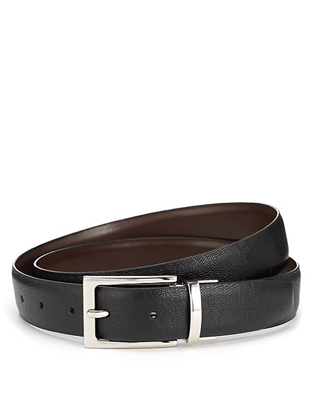 Leather Rectangular Buckle Reversible Belt