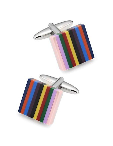 Multi-Striped Square Cufflinks