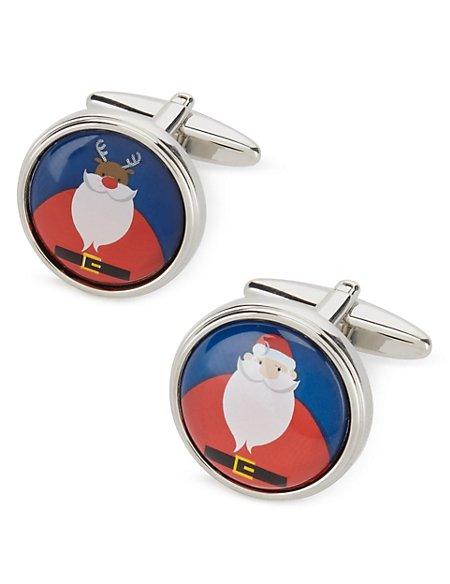 Deer & Santa Christmas Cufflinks