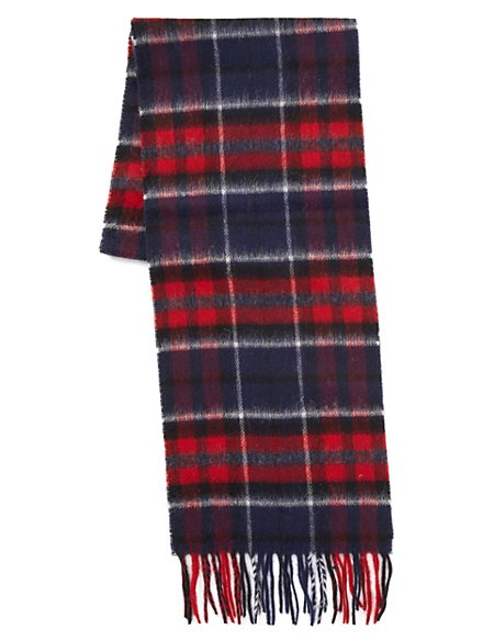 Pure Lambswool Checked Scarf