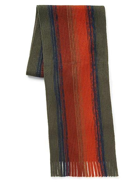 Chunky Knit Multi-Striped Scarf