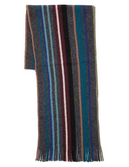 Pure Wool Brush Striped Scarf