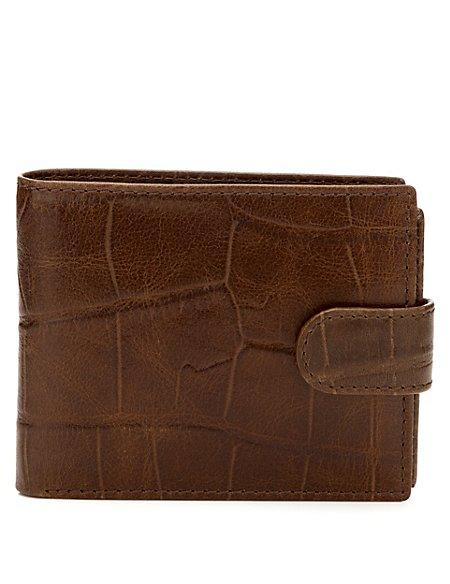 Leather Faux Crocodile Skin ID Tab Wallet