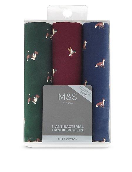 3 Pack Pure Cotton Animal Print Handkerchiefs