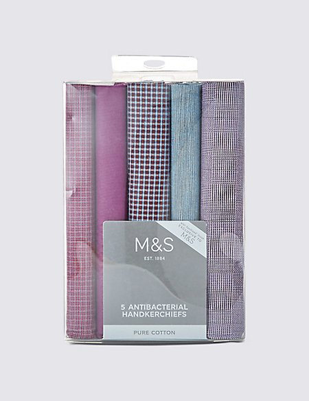 5 Pack Pure Cotton Assorted Anti-Bacterial Handkerchiefs