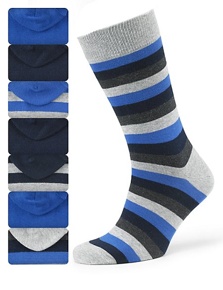 7 Pairs of Cotton Rich Freshfeet™ Striped Socks with Silver Technology