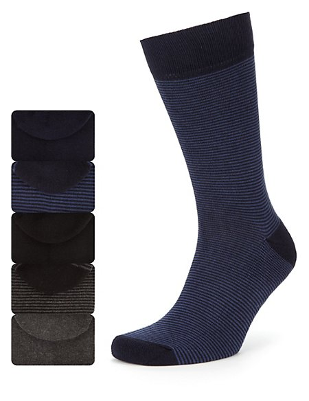 5 pairs of Cotton Rich Cushioned Sole Socks with Freshfeet™ Technology