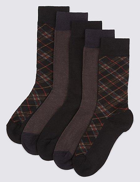 5 Pairs of Freshfeet™ Cushioned Sole Socks