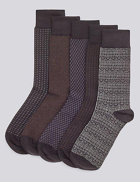 5 Pairs of Cotton Rich Freshfeet™ Socks