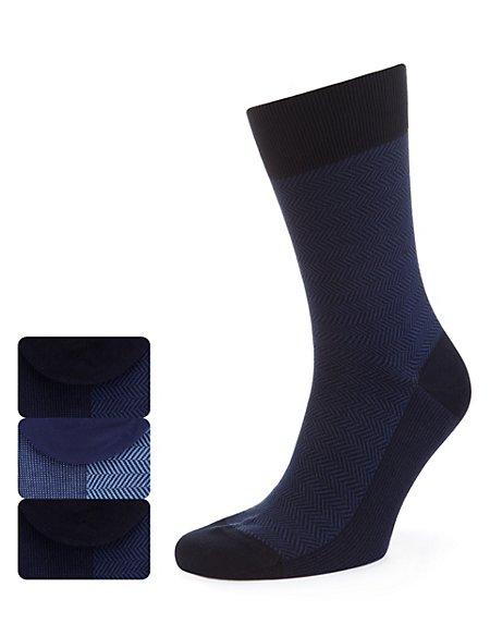 3 Pairs of Cotton Rich Herringbone Socks