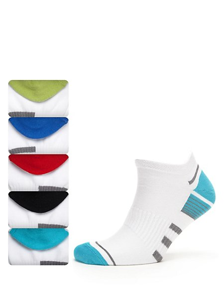 5 Pairs of Freshfeet™ Cotton Rich Assorted Sports Socks with Silver Technology