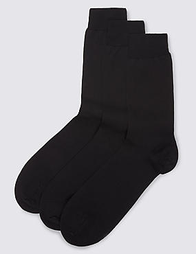 3 Pairs of Pure Cotton Luxury Mercerised Socks