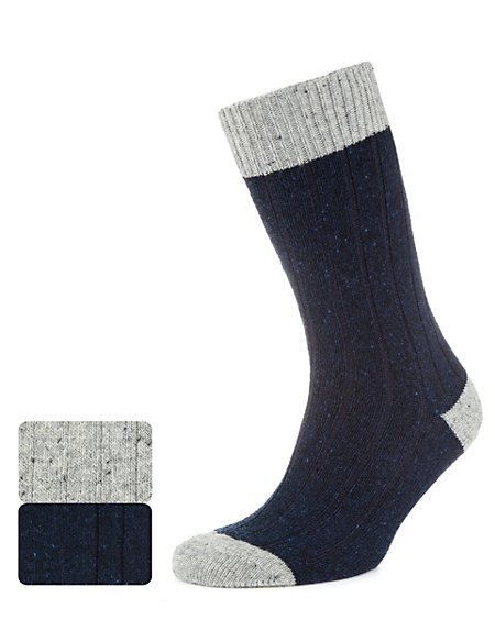 2 Pairs of Thermal Ribbed Socks with Wool