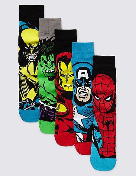 5 Pairs of Marvel Superheroes Socks