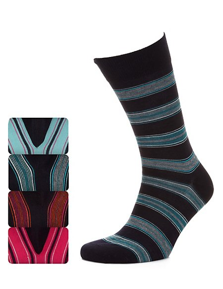 4 Pairs of Multi-Striped Socks