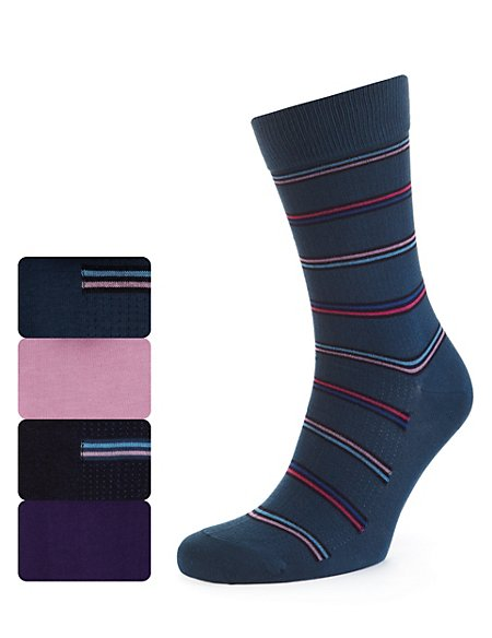 4 Pairs of Cotton Rich Spotted & Striped Socks
