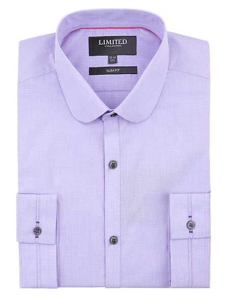 Slim Fit Mini Fine Grid Checked Shirt