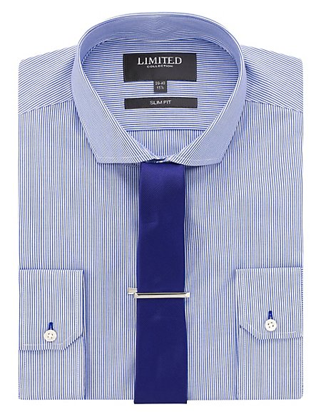 Slim Fit Bengal Striped Shirt with Tie