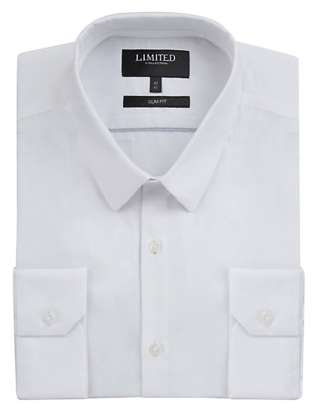 2in Longer Slim Fit Plain Poplin Shirt