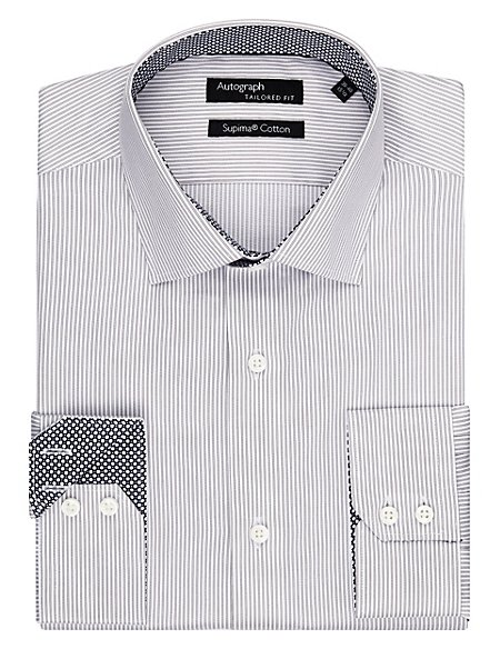 Supima® Cotton Tailored Fit Twin Striped Shirt