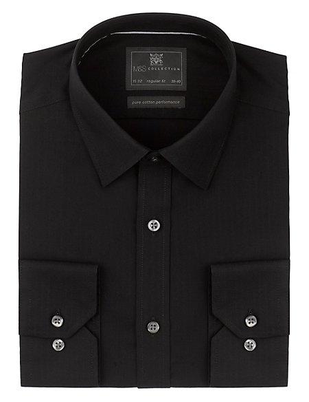 Performance Pure Cotton Non-Iron Herringbone Striped Shirt