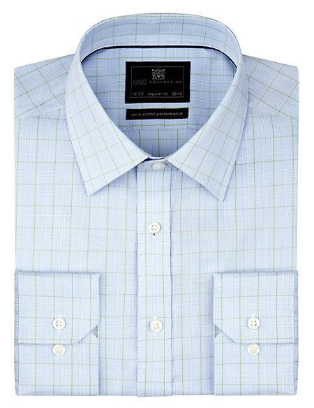 Performance Pure Cotton Non-Iron Prince of Wales Checked Shirt