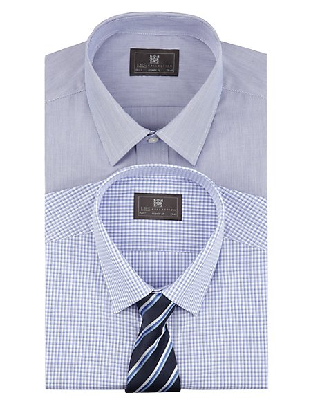 2 Pack Easy to Iron Plain & Gingham Checked Shirts with Tie