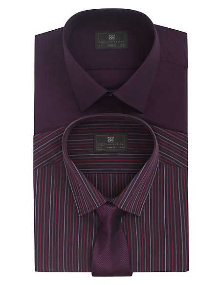 2 Pack Long Sleeve Easy to Iron Plain & Striped Shirts with Tie