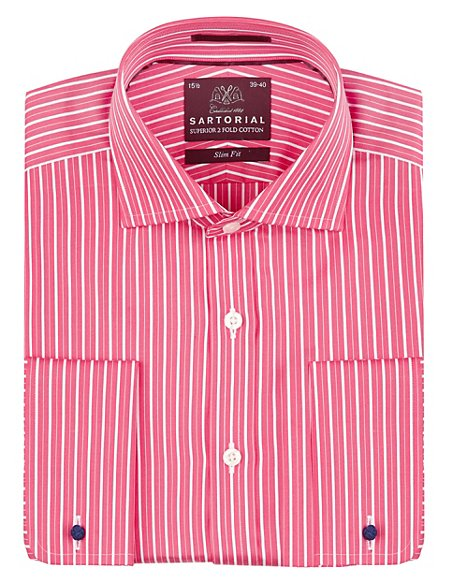 Pure Cotton Slim Fit Wide Geranium Striped Shirt