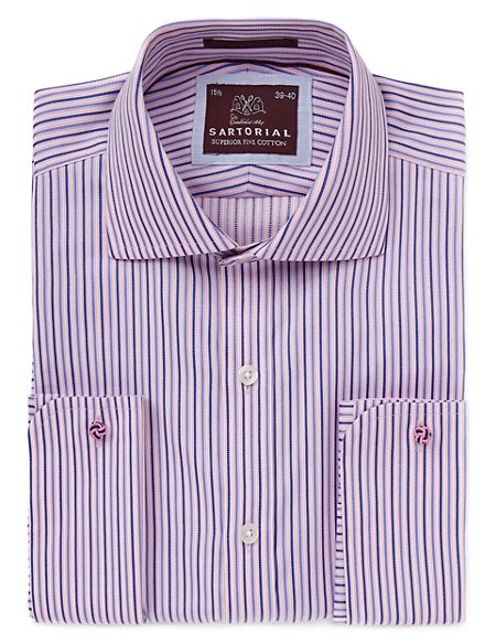 2in Longer Pure Cotton Striped Shirt