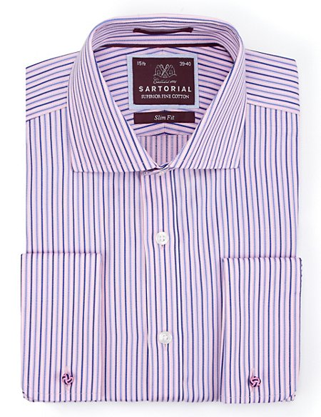 Pure Cotton Slim Fit Ladder Striped Shirt