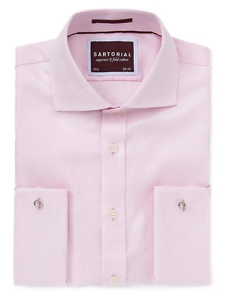 2in Longer Pure Cotton Non-Iron Slim Fit Twill Shirt