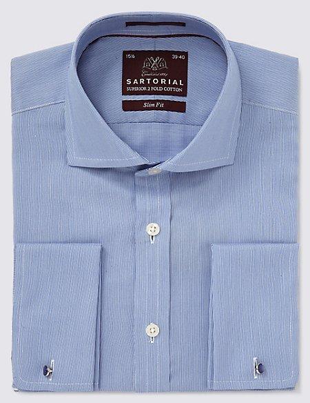 Pure Cotton Slim Fit Fine Rib Shirt