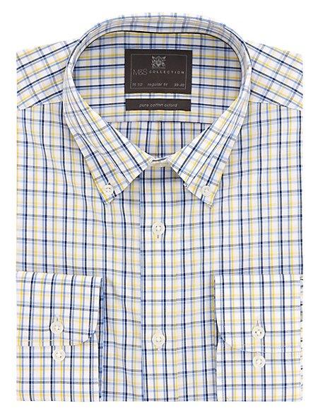 Pure Cotton Easy to Iron 3 Colour Checked Oxford Shirt