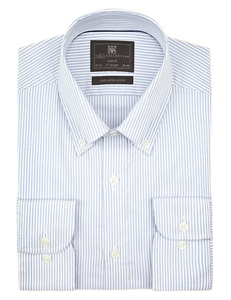 2in Longer Pure Cotton Slim Fit Easy to Iron Bengal Striped Oxford Weave Shirt