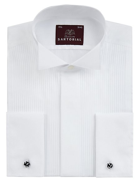2in Longer Pure Cotton Pleated Dress Shirt