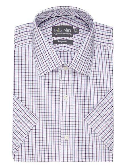 Performance Pure Cotton Non-Iron Short Sleeve Checked Shirt