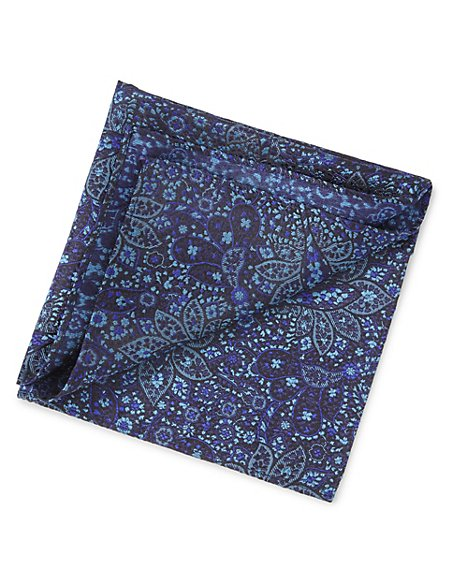 Pure Silk Floral Embroidered Pocket Square