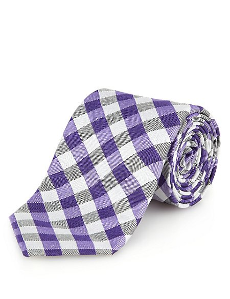Luxury Made in England Pure Silk Gingham Checked Tie