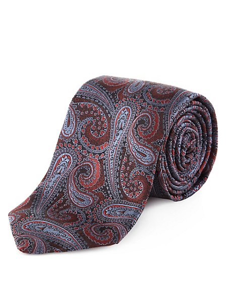 Made in Italy Luxury Pure Silk Paisley Print Tie