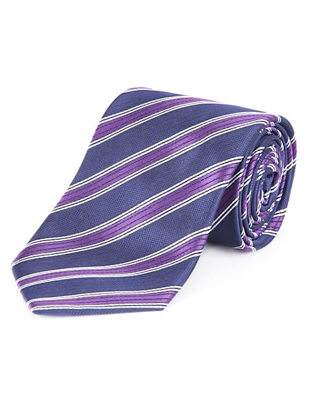 Performance Pure Silk Satin Striped Tie with Stain Resistance