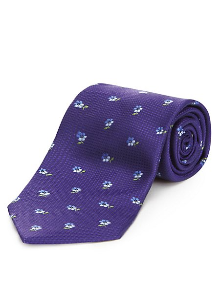 Pure Silk Textured Floral Tie with Stain Resistance