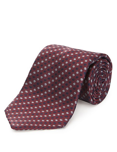Pure Silk Textured Tie with Stain Resistance