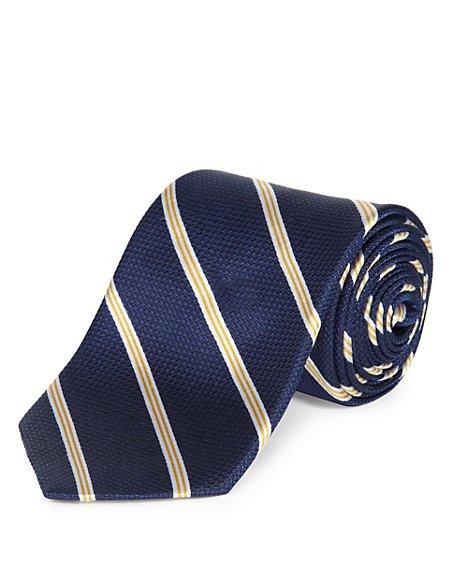 Pure Silk Striped Textured Tie